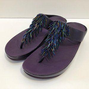 FitFlop Cha Cha Beaded Thong Sandals Flip Flops 8
